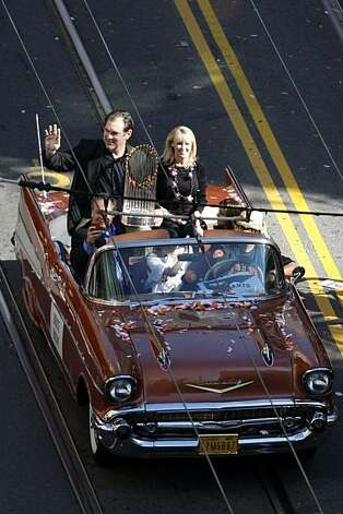 Giants manager Bruce Bochy waves to fans on Market Street during a parade marking the Giants triumphant return from Texas as Wednesday, November 3, 2010, San Francisco, Calif.  The San Francisco Giants celebrate their 2010 World Series win after returning home. Photo: Adm Golub, The Chronicle