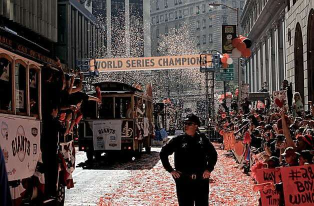 The parade makes it's way up Montgomery Street, as the City of San Francisco celebrates the World Series Champion Giants with a parade down Market Street, on Wednesday Nov. 3, 2010 in San Francisco, Calif. Photo: Michael Macor, San Francisco Chronicle
