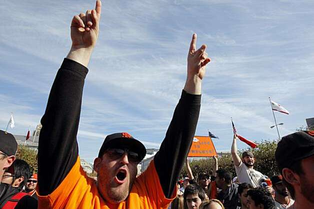 Joshua Pearlman, of Mountain View, cheers at City Hall while watching a rally marking the Giants triumphant return from Texas  Wednesday, November 3, 2010, San Francisco, Calif.  The San Francisco Giants celebrate their 2010 World Series win after returning home. Photo: Adm Golub, The Chronicle
