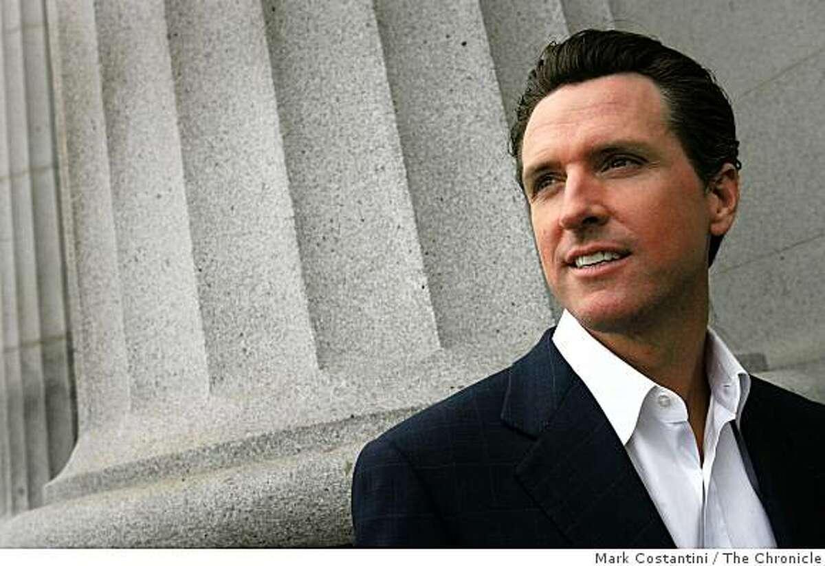 San Francisco Mayor Gavin Newsom stands outside of his office in San Francisco, Calif. on Tuesday, January 6, 2009.