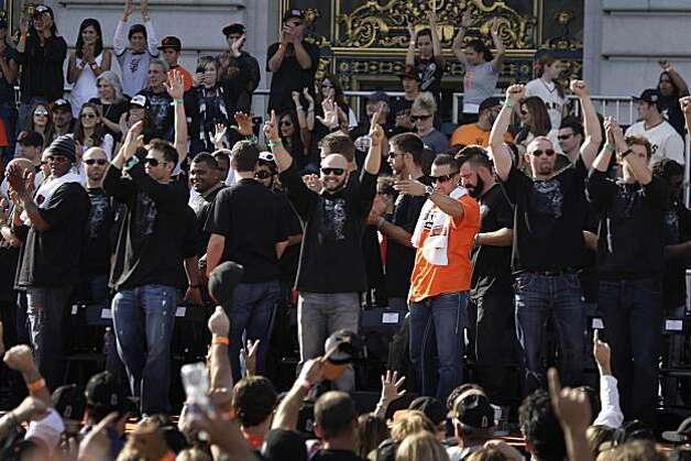 San Francisco Giants' players wave to the crowd at the end of the ceremony at Civic Center Plaza  celebrating the San Francisco Giants win in the 2010 World Series on Monday, November 3, 2010 in San Francisco, Calif. Photo: Lea Suzuki, San Francisco Chronicle