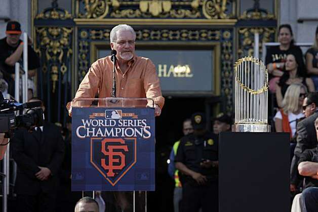 San Francisco Giants' general manager, Brian Sabean, speaks to the crowd gathered during the ceremony at Civic Center Plaza after the World Series parade celebrating the San Francisco Giants win in the 2010 World Series on Monday, November 3, 2010 in San Francisco, Calif. Photo: Lea Suzuki, San Francisco Chronicle