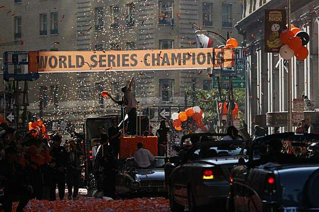 After the San Francisco Giants won the World Series, hundreds of thousands of fans watch a ticker tape victory parade on Montgomery and Market Streets on Wednesday Nov. 03, 2010 in San Francisco, Calif. Photo: Mike Kepka, The Chronicle