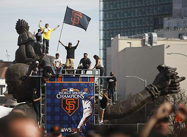 Fans flock to City Hall to watch a parade and rally marking the Giants triumphant return from Texas  Wednesday, November 3, 2010, San Francisco, Calif.  The San Francisco Giants celebrate their 2010 World Series win after returning home. Photo: Adm Golub, The Chronicle