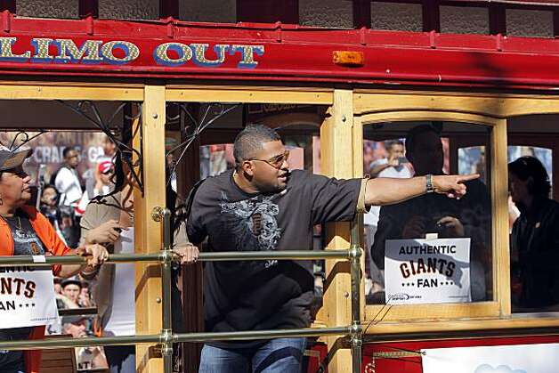 Pablo Sandoval waves to the crowd gathered during the parade. The city of San Francisco held a victory parade for the World Champion San Francisco Giants on Wednesday, November 3, 2010, two days after the team won the World Series against the Texas Rangers. The parade came down Market Street in San Francisco, Calif., and was the same route taken by the parade welcoming the Giants to San Francisco in 1958 when they moved from New York to the west coast. Photo: Carlos Avila Gonzalez, San Francisco Chronicle