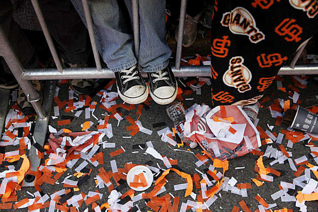 After the San Francisco Giants won the World Series, Nicholas Goodnow, 8, of Napa gets boost from a barricade during the victory parade on Montgomery Street jon Wednesday Nov. 03, 2010 in San Francisco, Calif. Photo: Mike Kepka, The Chronicle