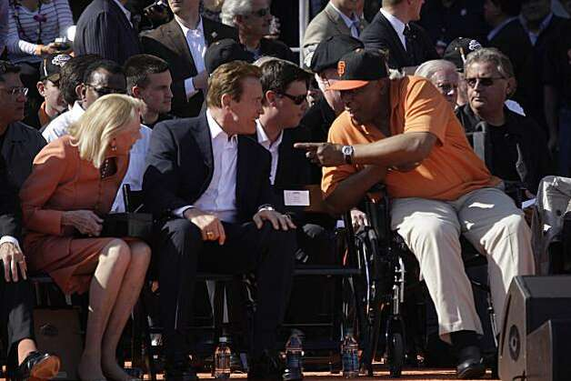 Governor Arnold Schwarzenegger (l to r) talks with former Giants player Willie McCovey before the ceremony at Civic Center Plaza after the World Series parade celebrating the San Francisco Giants win in the 2010 World Series on Monday, November 3, 2010 in San Francisco, Calif. Photo: Lea Suzuki, San Francisco Chronicle