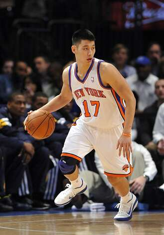 New York Knicks' point guard Jeremy Lin (17) drives the ball during an NBA basketball game against the Utah Jazz  on Monday, Feb. 6, 2012, in New York. Photo: Kathy Kmonicek, Associated Press