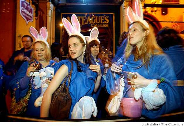 The bunnies won the best group award at the Snuggie pub crawl where a bunch of Snuggie enthusiasts gathered at McTeagues in San Francisco, Calif., on Friday, March 20, 2009. Photo: Liz Hafalia, The Chronicle