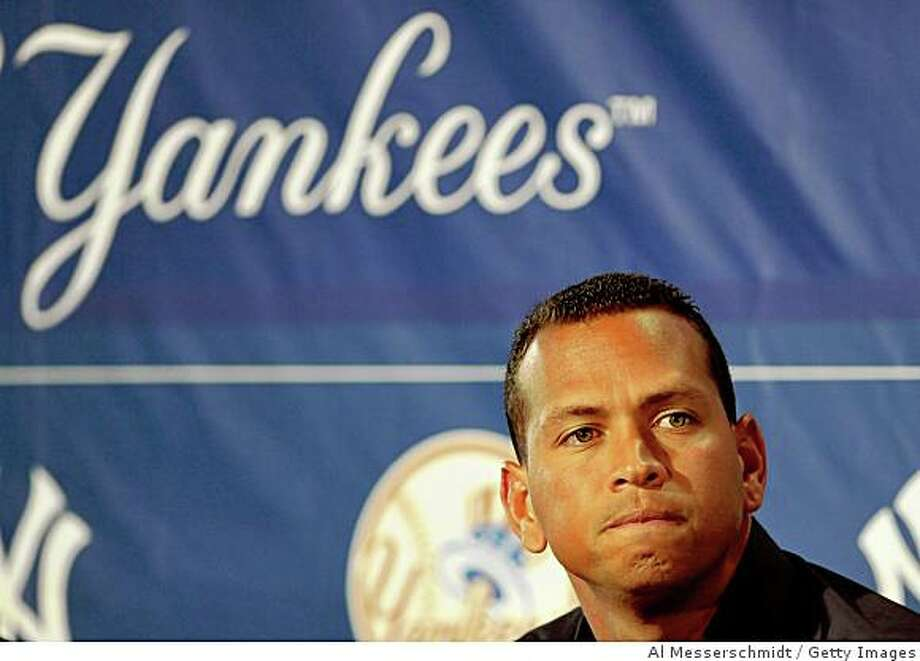 "TAMPA - FEBRUARY 17: Infielder Alex Rodriguez of the New York Yankees talks during a press conference February 17, 2008 at the George M. Steinbrenner Field in Tampa, Florida. The Yankees third baseman admitted to taking a substance known as ""boli"" acquired with his cousin in the Dominican Republic in 2001.  (Photo by Al Messerschmidt/Getty Images) Photo: Al Messerschmidt, Getty Images"