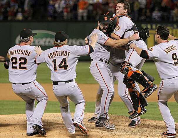 Giants catcher jumps onto closing pitcher Brian Wilson,  the celebration begins  as the San Francisco Giants take game 5 to win the  2010 World Series over the Texas Rangers on Monday Nov. 1, 2010 in Arlington, Tx., with a score of 3-1. Photo: Michael Macor, San Francisco Chronicle