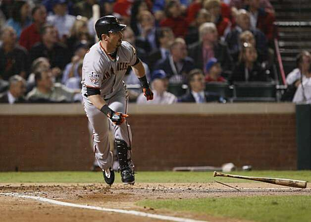 San Francisco Giants center fielder Aaron Rowand flies out in the third inning of Game 5 of the World Series against the Texas Rangers on Monday. Photo: Lance Iversen, San Francisco Chronicle