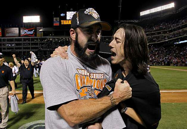 Brian Wilson and Tim Lincecum celebrate as the San Francisco Giants take game 5 to win the  2010 World Series over the Texas Rangers on Monday Nov. 1, 2010 in Arlington, Tx., with a score of 3-1. Photo: Michael Macor, The Chronicle