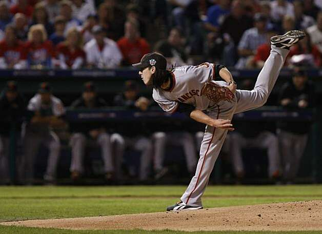 San Francisco Giants starting pitcher Tim Lincecum throws a pitch in the first inning of Game 5 of the World Series against the Texas Rangers on Monday. Photo: Lance Iversen, San Francisco Chronicle