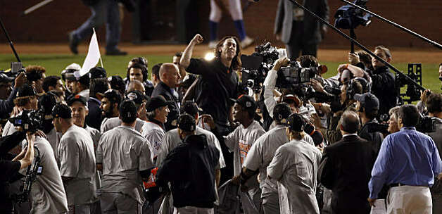 Winning pitcher, Tim Lincecum is lifted up on teammates shoulders as The Giants celebrate on the field after winning the final game of the World Series. The San Francisco Giants defeated the Texas Rangers 3-1 in Game 5 of the World Series at Rangers Ballpark in Arlington, Tx, on Monday, November 1, 2010. Photo: Carlos Avila Gonzalez, San Francisco Chronicle