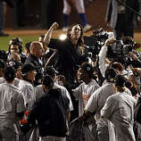 Winning pitcher, Tim Lincecum is lifted up on teammates shoulders as The Giants celebrate on the field after winning the final game of the World Series. The San Francisco Giants defeated the Texas Rangers 3-1 in Game 5 of the World Series at Rangers Ballpark in Arlington, Tx, on Monday, November 1, 2010.