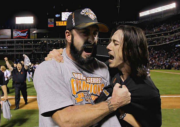 Brian Wilson and Tim Lincecum celebrate as the San Francisco Giants take game 5 to win the  2010 World Series over the Texas Rangers on Monday Nov. 1, 2010 in Arlington, Tx., with a score of 3-1. Photo: Michael Macor, San Francisco Chronicle