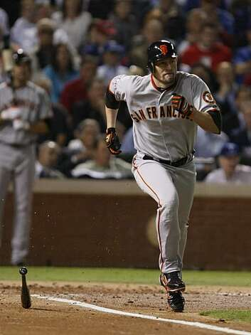 San Francisco Giants first baseman Aubrey Huff grounds out in the second inning of Game 5 of the World Series against the Texas Rangers on Monday. Photo: Lance Iversen, San Francisco Chronicle