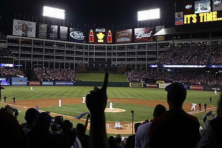 A Texas Rangers fan shows his support for his team at Game 5 of the World Series as the San Francisco Giants play the Texas Rangers at Rangers Ballpark on Monday November 1, 2010 in Arlington, Texas. Photo: Lea Suzuki, San Francisco Chronicle