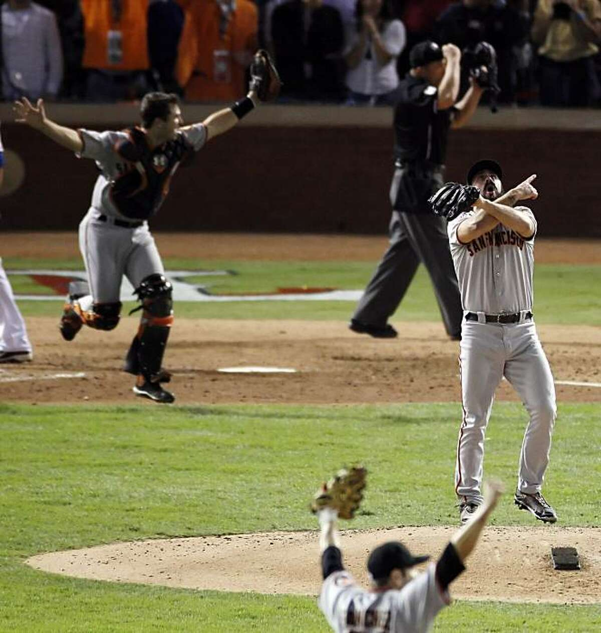 Giants' closer, Brian Wilson celebrates after striking out Nelson Cruz of the Texas Rangers for the final out of the World Series. The San Francisco Giants defeated the Texas Rangers 3-1 in Game 5 of the World Series at Rangers Ballpark in Arlington, Tx, on Monday, November 1, 2010.