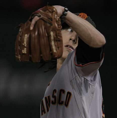 San Francisco Giants starting pitcher Tim Lincecum delivers a pitch in the first inning of Game 5 of the World Series against the Texas Rangers on Monday. Photo: Michael Macor, San Francisco Chronicle