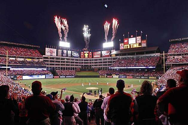 The pre-game ceremony before Game 5 of the World Series at Rangers Ballpark on Monday. Photo: Lea Suzuki, San Francisco Chronicle