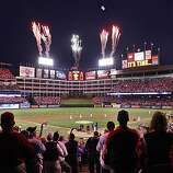 The pre-game ceremony before Game 5 of the World Series at Rangers Ballpark on Monday.