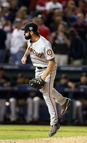 San Francisco Giants closer Brian Wilson works the ninth inning of Game 5 of the World Series on Monday. Photo: Lance Iversen, San Francisco Chronicle