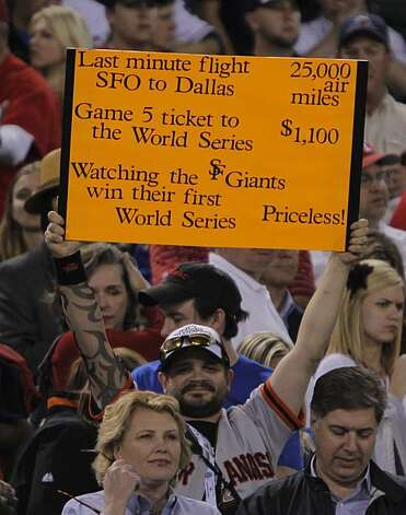 A Giants fan shows his support as the San Francisco Giants take Game 5 to win the World Series over the Texas Rangers on Monday. Photo: Michael Macor, San Francisco Chronicle