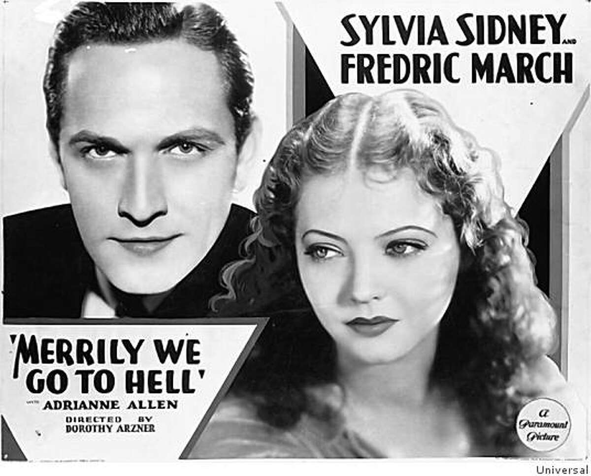 """Lobby card for the movie """"Merrily We Go to Hell."""""""