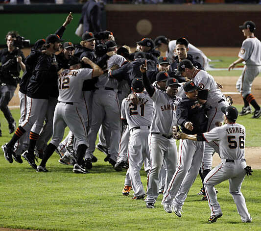 The Giants celebrate on the field after winning the final game of the World Series. The San Francisco Giants defeated the Texas Rangers 3-1 in Game 5 of the World Series at Rangers Ballpark in Arlington, Tx, on Monday, November 1, 2010. Photo: Carlos Avila Gonzalez, San Francisco Chronicle