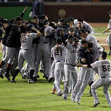 The Giants celebrate on the field after winning the final game of the World Series. The San Francisco Giants defeated the Texas Rangers 3-1 in Game 5 of the World Series at Rangers Ballpark in Arlington, Tx, on Monday, November 1, 2010.