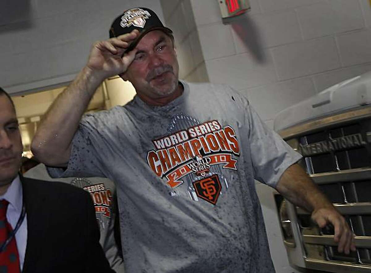 San Francisco Giants manager Bruce Bochy heads to the Visiting Clubhouse after leaving the field at Rangers Ballpark after the San Francisco Giants win Game 5 of the World Series over the Texas Rangers 3-1 on Monday November 1, 2010 in Arlington, Texas.