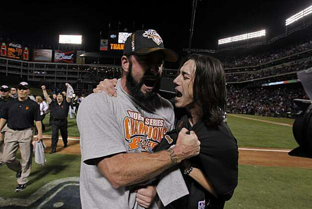 Brian Wilson and Tim Lincecum celebrate as the San Francisco Giants take Game 5 to win the World Series over the Texas Rangers on Monday. Photo: Michael Macor, San Francisco Chronicle