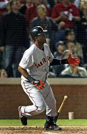 San Francisco Giants MVP Edgar Renteria follows the flight of his game winning three run homer in the 7th inning Monday Nov. 1, 2010 at Rangers Ballpark in Arlington. The Giants beat the Texas Rangers in game five of the World Series 3-1. Photo: Lance Iversen, The Chronicle