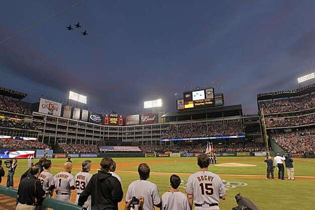 Jets do a flyover during pre-game ceremonies for Game 5 of the World Series between the San Francisco Giants and the Texas Rangers on Monday. Photo: Michael Macor, San Francisco Chronicle