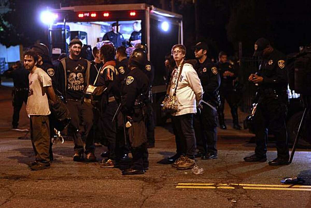 About a hundred protesters of the Mehserle sentence were arrested on E. 18th St.at 6th Ave. in Oakland, Calif., on Friday, November 5, 2010.
