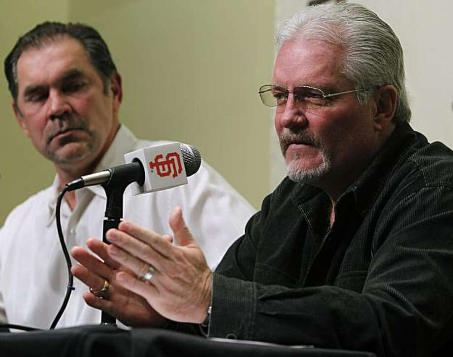 Giants manager Bruce Bochy and general manager Brian Sabean discuss the team's off-season plans after its World Series championship at AT&T Park in San Francisco, Calif., on Friday, Nov. 5, 2010. Photo: Paul Chinn, The Chronicle