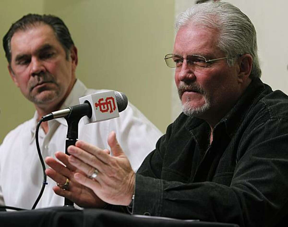 Giants manager Bruce Bochy and general manager Brian Sabean discuss the team's off-season plans after its World Series championship at AT&T Park in San Francisco, Calif., on Friday, Nov. 5, 2010.