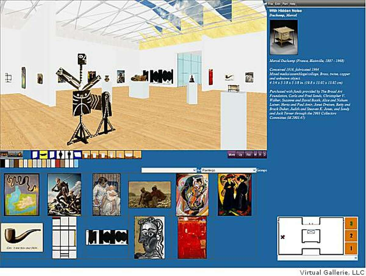 This is the product interface for Virtual Gallerie Curator �, which displays 4 quadrants. The gallery in the upper left, art information in the upper right, images and exhibition planning tools in the lower left, and a museum floor plan in the lower right of the screen. This image shows the third floor of Broad Contemporary Art Museum, part of the Los Angeles County Museum of Art.