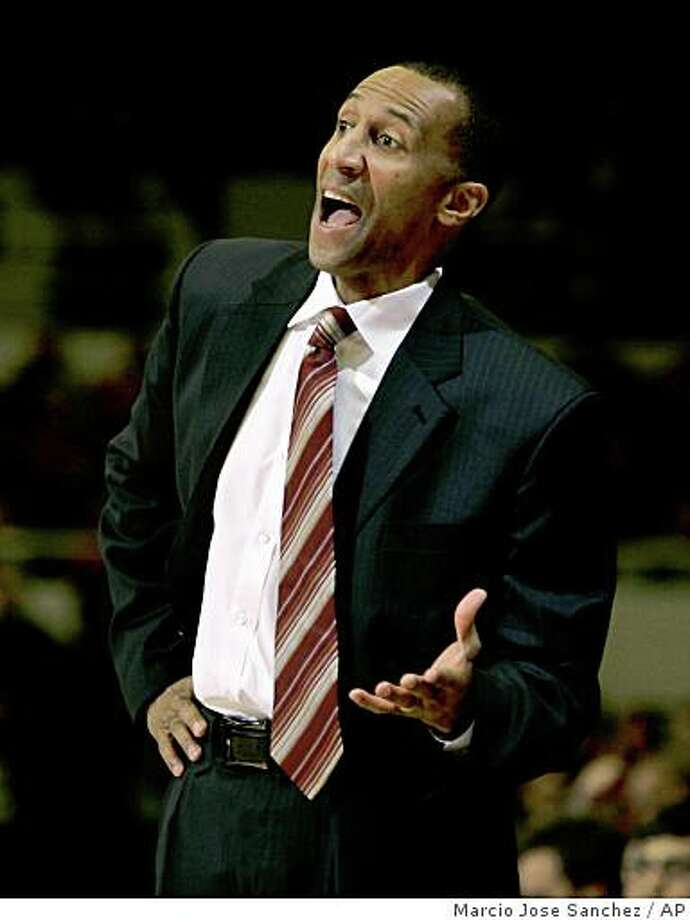 Stanford Head Coach Johnny Dawkins coaches from the sidelines against Arizona State in the first half of an NCAA college basketball game in Stanford, Calif., Friday, Jan. 2, 2009. (AP Photo/Marcio Jose Sanchez) Photo: Marcio Jose Sanchez, AP