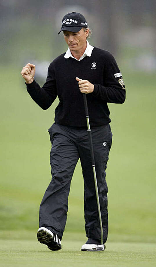 Bernard Langer reacts to a birdie putt on the 9th hole  during the final round of the Schwab Cup Championship Sunday Nov. 7, 2010 at San Francisco's Harding Park Golf Course. Photo: Lance Iversen, San Francisco Chronicle