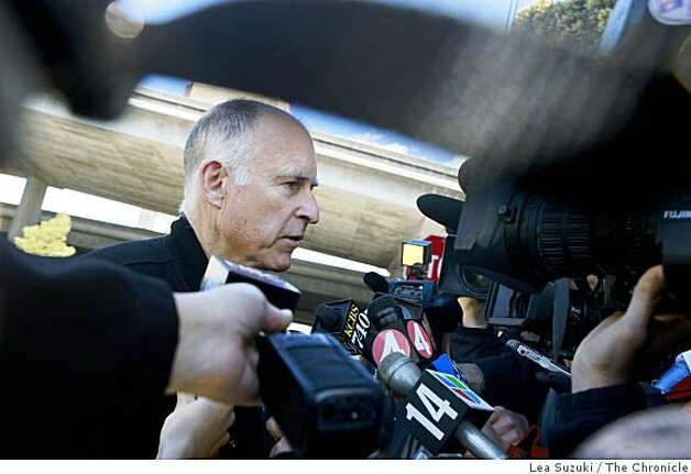 California Attorney General Jerry Brown talks to the media after arriving at the Oakland Police Officers Association in Oakland, Calif. on Sunday, March 22, 2009. Photo: Lea Suzuki, The Chronicle