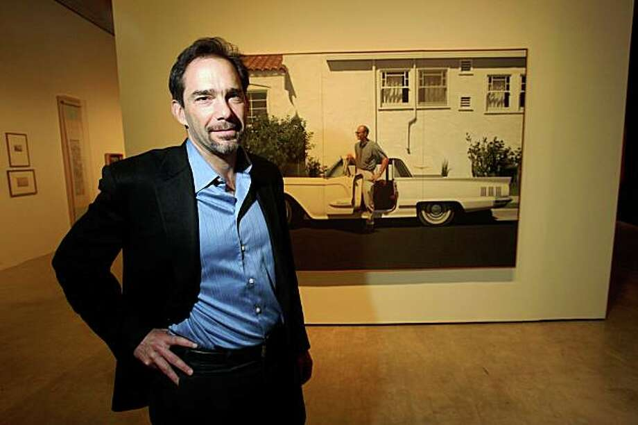Lawrence Rinder, Berkeley Art Museum director poses in front of a oil painting titled 60 T-Bird by Bay Area artist Robert Bechtle.  Rinder has created a new installation of the permanent collection on March 24, 2009. Photo: Frederic Larson, The Chronicle