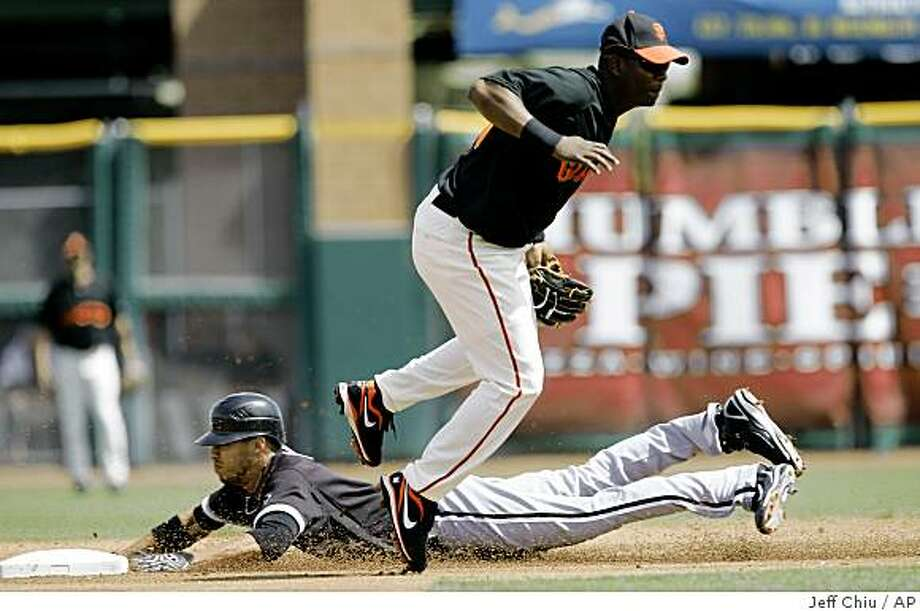 Chicago White Sox's Jerry Owens, rear, steals second base as San Francisco Giants' Edgar Renteria covers in the first inning of a spring training game in Scottsdale, Ariz., Thursday, March 19, 2009. Photo: Jeff Chiu, AP