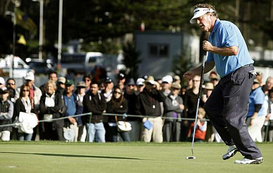 Michael Allen races to the 16th cup to retrieve his birdie putt in round three of the Schwab Cup Championship at San Francisco's Harding Park Golf Course. Allen shot a 61 on Saturday to lead the tournament. Photo: Lance Iversen, San Francisco Chronicle