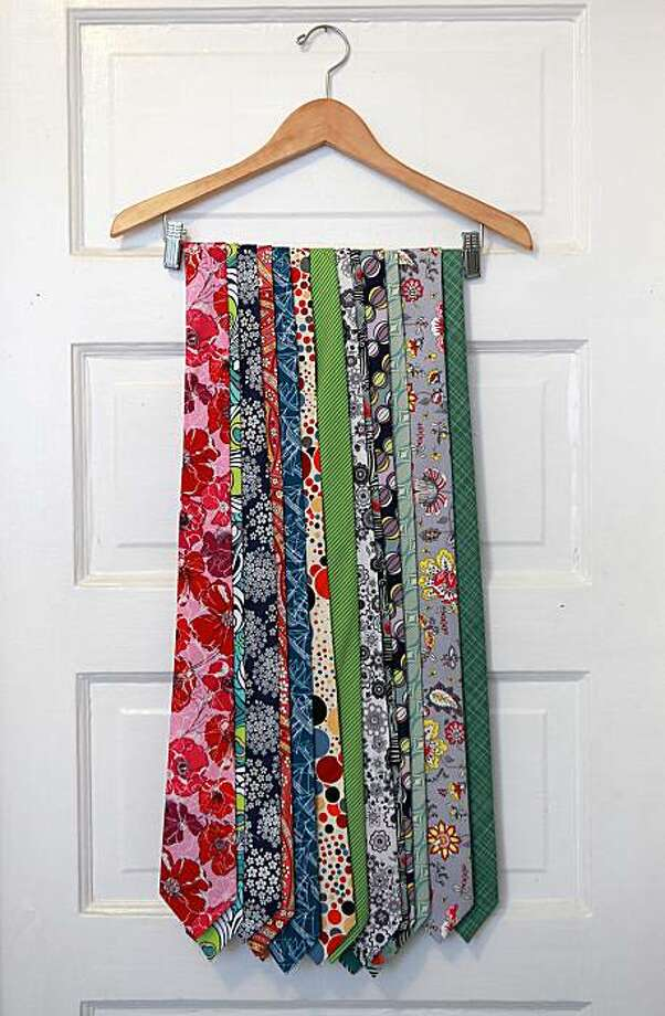 Some finished ties of Jenny Rinzler hanging on her kitchen doorway on Monday, October 4, 2010. Photo: Liz Hafalia, The Chronicle