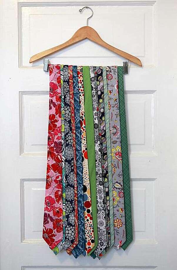 Some finished ties of Jenny Rinzler hanging on her kitchen doorway on Monday, October 4, 2010. Photo: Liz Hafalia, The Chronicle
