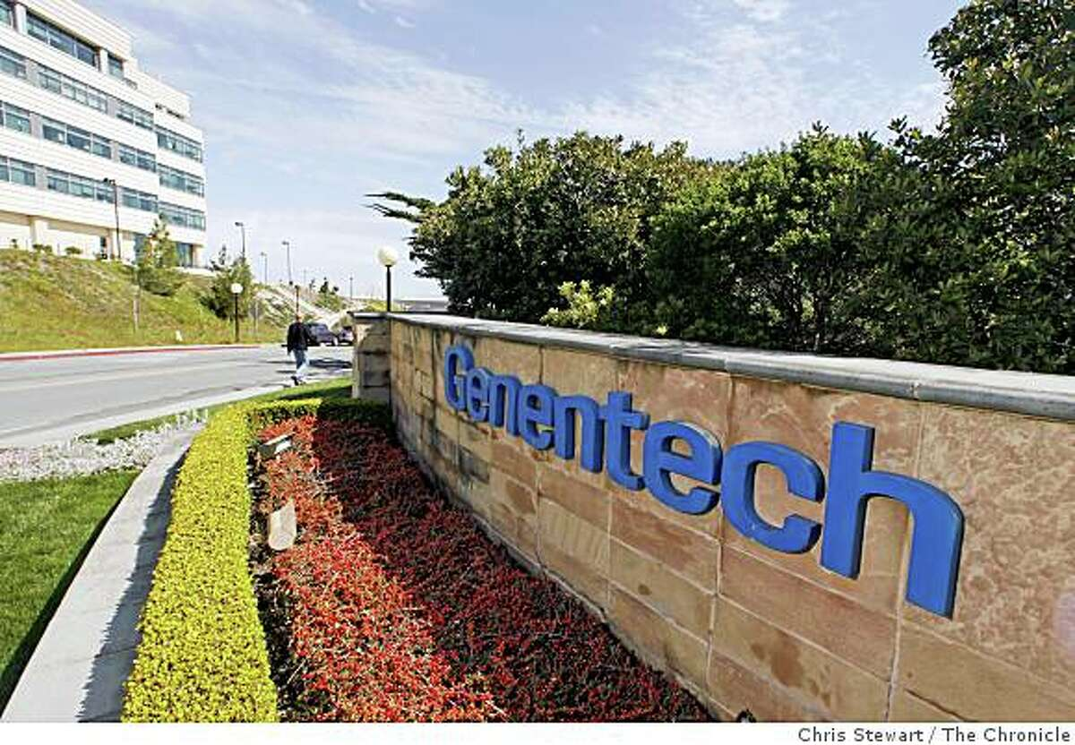 The Genentech logo is photographed at the company's South San Francisco campus on April 3, 2006.