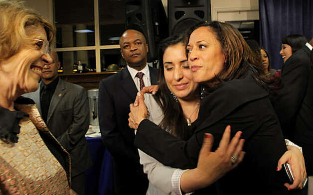 Kamala Harris,right, hugs Alida Garcia while waiting for the results in to hear if she is the new Attorney General, Tuesday Nov. 2, 2010, in San Francisco, Calif. Photo: Lacy Atkins, The Chronicle